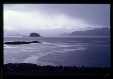 Skidegate Channel in heavy rain
