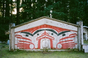 Painted Haida house front