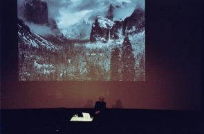 Shore opened his lecture with his story how he met Ansel Adams, showing one of Adam's impressive shots. Adams was drinking Vodka in severe amounts then and was 85 years old. He told Shore he had been platforming for 40 years. Shore realized: if this is going to happen to him, he would quit immediately.