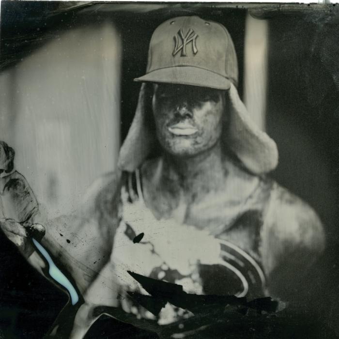 Paper Mache statue, Kodak 5x7 (cropped w/ tin snips).
