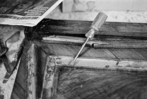 Frames in various states of disrepair/repair